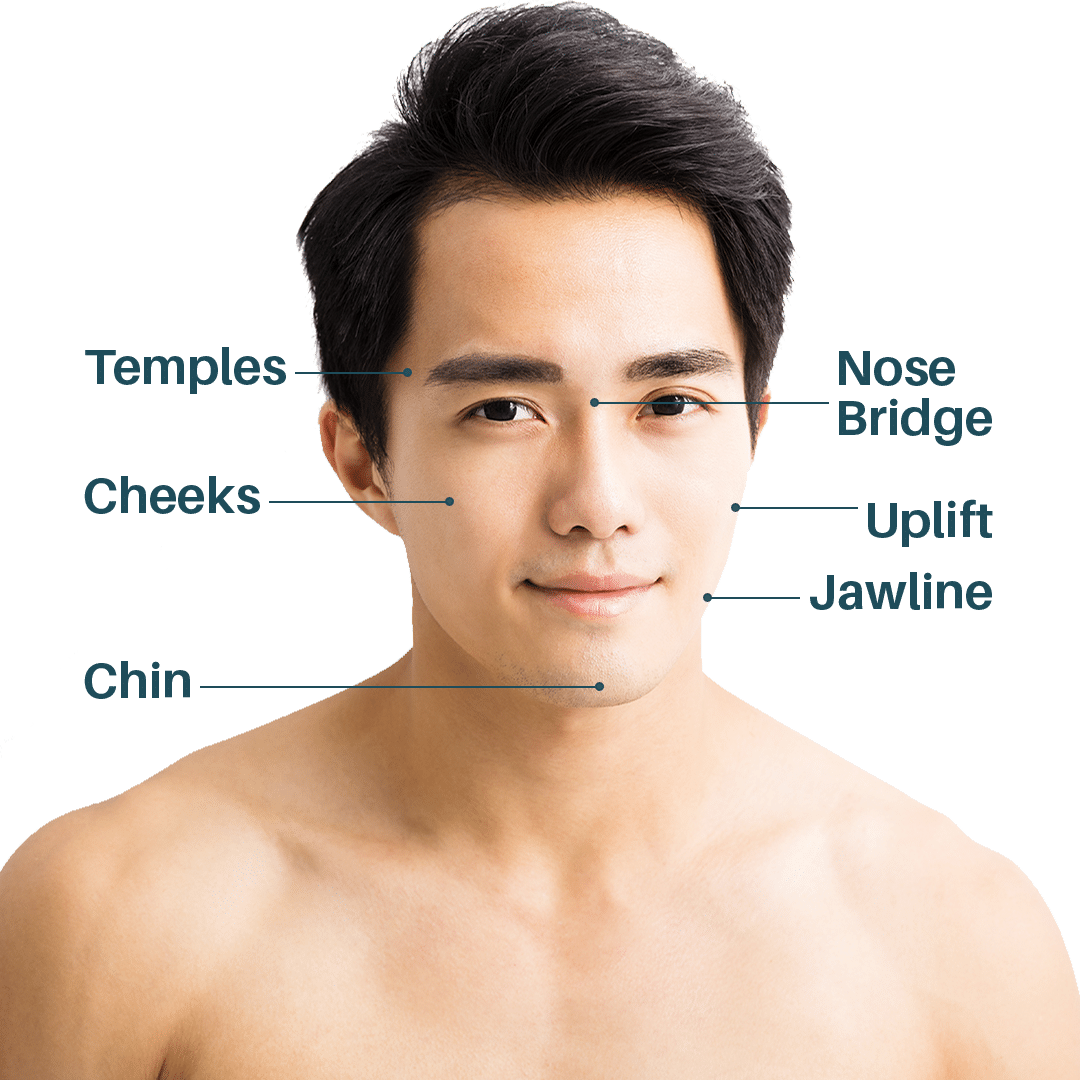 Handsome Asian Man with Dermal Filler Treatments